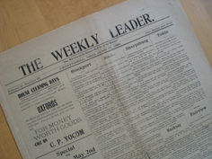 The Weekly Leader newspaper from 1908, published in Chesterhill, OH